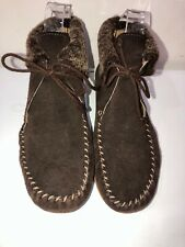 TOAST brown suede moccasin ankle boots size 4 fur trim