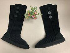UGG Australia Womens 5819 Classic Cardy Knit Black Pull On Boots Shoes SZ 7 EUC