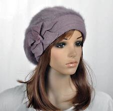 Winter Rabbit Fur & Wool Women's Hat Beanie Cap Beret Cute Flower Pick Colors
