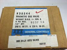 """Itt General controls Magnetic Gas Valve K3A544 1/2"""" Npt 240 volt 6 Psi max."""