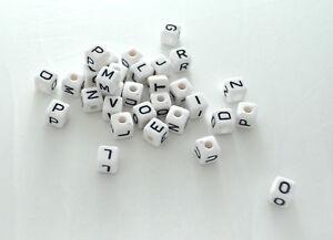 10 Perle Alphabet Blanche Cube Acrylique Lettre 10mm Bracelet, Attache tetine