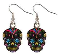"DAY OF THE DEAD ""Dia De Los Muertos"" Sugar Skull Earrings Black"