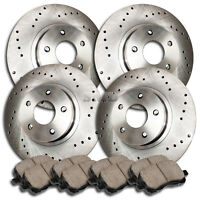 A1009 FITS 2008 2009 2010 2011 HONDA CIVIC SI DRILLED Brake Rotors CERAMIC PADS