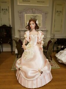 Dolls house artisan Helen Neve (?) Doll wearing pale peach Victorian ball gown