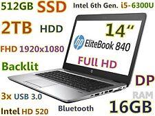 """Ultrabook HP 840 G3 i5-6300u (512GB-SSD + 2TB 16GB-RAM) 14"""" Full HD Backlit"""