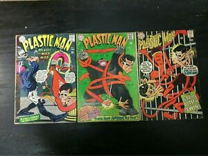 1967 DC COMICS LOT OF 3 PLASTIC MAN #6 #7 #10 LOWER-GRADE BAGGED AND BOARDED