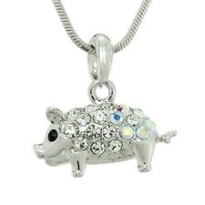"W Swarovski Crystal Pig PIGLET Piggy Luck Symbol Pendant Necklace 18"" Chain"