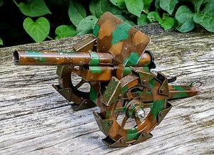Antique Pre-war WW1 (Marklin?) Camouflage Cannon w/Articulated Treads Tin Toy
