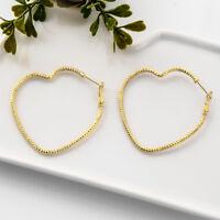 New Heart Women Jewelry Big Hoop Earrings Hip-Hop Gold Silver Dangle Ear Studs