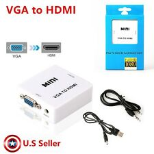 VGA to HDMI 1080P Converter Adapter Box 3.5mm Audio Cable For desktop laptop TV