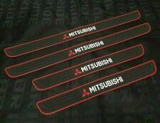 Mitsubishi Red-Black Rubber Door Scuff Sill Cover Panel Step Protector 4Pcs (Fits: Mitsubishi)