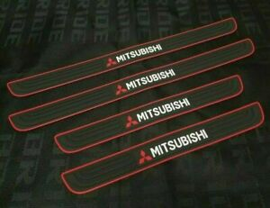 MITSUBISHI Red-Black Rubber Door Scuff Sill Cover Panel Step Protector 4PCS