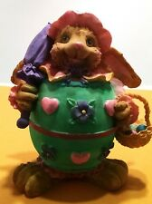 Vintage Easter Bunny Rabbit With Purple Umbrella Hand-Painted Resin Ceramic 6""