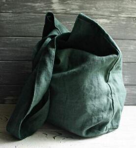 Green linen bag