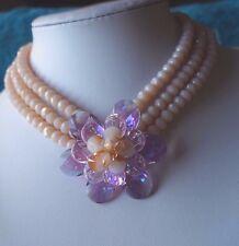 Butler & Wilson  quartz & Crystal multi layered flower   Necklace peach / pink