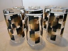 Retro atomic set 6 black & gold star burst sunburst Glass tumblers original Vtg