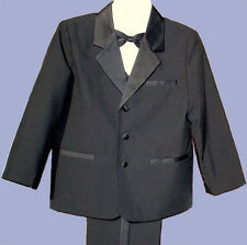 BOYS BLACK  WEDDING RING BOY TUXEDO SUIT w/VEST SZ 1