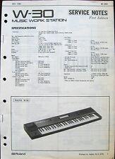 Roland W-30 Workstation Keyboard Original 1989 Service Manual Schematics Booklet