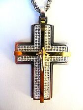Two Tone Stainless Steel Large Cross  with CZ stones and 24 Inch Chain