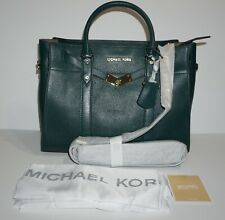 Michael Kors Large Satchel Leather Nouveau Hamilton Dark Green