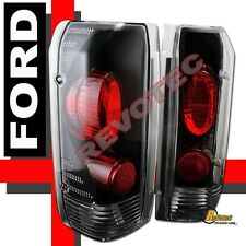 90-96 Ford F150 92-96 Bronco 97 98 F250 F350 Pickup Black Tail Lights Lamps