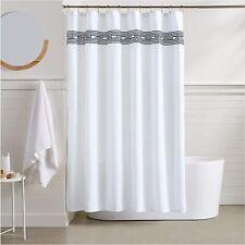 Black White Roman Stripe Geometric Modern Fabric Shower Curtain