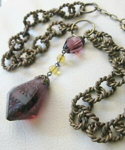 Antique Braided Gold Chain Victorian Floral Engraved Amethyst Glass Necklace
