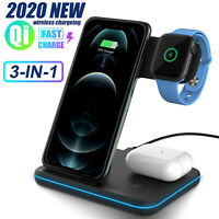 For iPhone 11 12 Pro Max/12 mini 15W 3in1 QI Wireless Fast Charger Charging Dock
