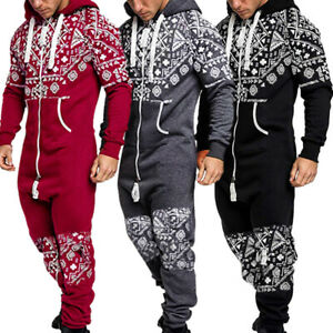 Men's Long Sleeve Hooded Zip 1Onesie All In One Jumpsuit Pants Pyjamas Baggy