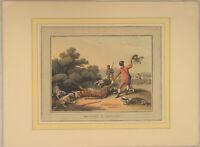 PANTHER Jagd kolorierte Original Aquatinta Radierung datiert 1813 Großwildjagd