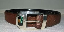 VINTAGE MEXICO 925 BUCKLE TAXCO TS-42 SHARK SKIN LEATHER BELT SZ 44