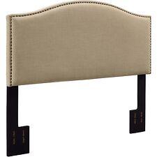 Linen Headboard King Size Upholstered Bedroom Furniture Metal Nailhead Oatmeal