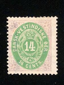 DANISH WEST INDIES: UNUSED #12 HINGED OG CV $650