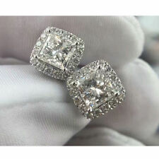 4 Ct Princess Cut Diamond Push Back Halo Stud Earrings 14K White Gold Finish.