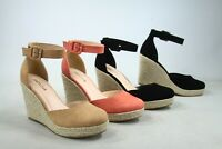 NEW Women's Espadrille Ankle Strap Buckle Closed Toe Sandals Shoes Size 5.5 - 11