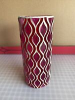 Pink & Red Cut Glass Vase w/ White Mortar
