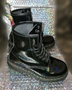 Black Rainbow Patent DR Martens Air Wair UK 3 Boots LIMITED EDITION