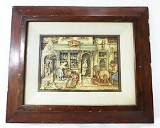 Vintage 3D cut paper picture in frame wall decor hanging