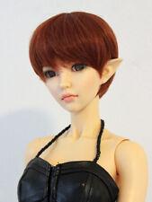 1/4 bjd 17-19cm head red brown color short doll wig msd minifee dollfie