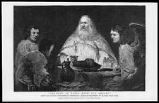 1890 FINE ART Antique Print - Abraham Table Angels Rembrandt Le Pecq Paris  (77)