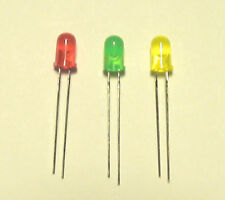 20 each RED GREEN YELLOW 5MM DIFFUSED LEDS FOR HO SCALE CONTROL PANELS