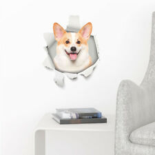 Cute 3D Welsh Corgi Dog Toilet Sticker | Break Wall Puppy Pet Laptop Decor Decal