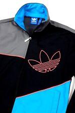 Adidas Originals Mens Big Retro Logo Black Gray Turquoise Track Jacket Small