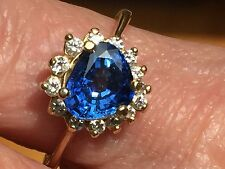 2 Carat Natural Triangle Shaped Sapphire & Diamond Ring 14k Yellow Gold size 8.5