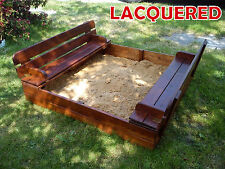 Lacquered Sandbox GARDEN SQUARE - SANDPIT WITH WOODEN LID & SEATS + agrifiber
