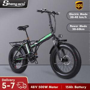 "20"" vélo électrique 48V 500W 15Ah Mountain Fat Tire e-bike shimano 7 vitesses"