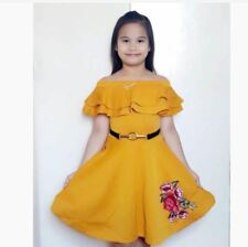 KIDS OFFSHOULDER DRESS AG -  MUSTARD (XL)