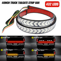 "40"" Truck Tailgate Strip LED Sequential Turn Signal Brake Tail Reverse Light Bar"
