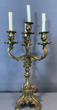 19thC Antique FRENCH VICTORIAN Old GILT Spelter ACANTHUS FLOWER Candelabra LAMP