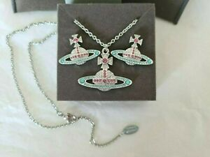 Vivienne Westwood Crystal Bas Relief Necklace and Earrings Set